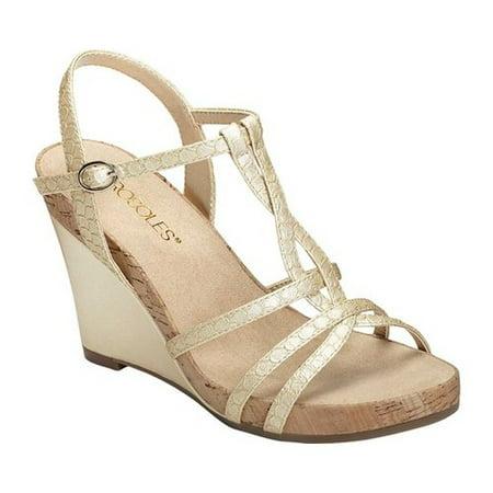 Women's Plush Song Wedge (Croco Embossed Sandal)