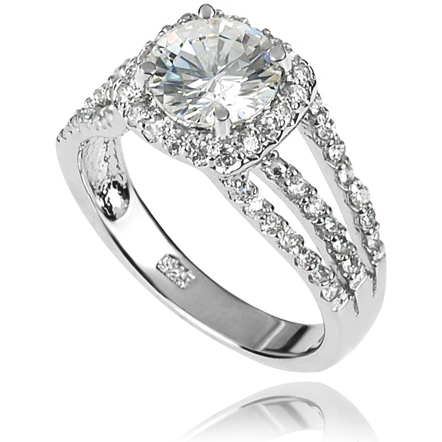Alexandria Collection Women's Round-Cut CZ Sterling Silver Halo Split Band Engagement Ring