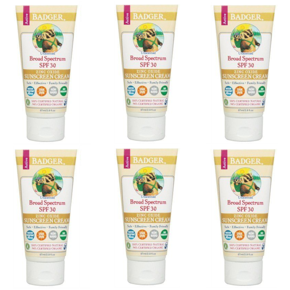 6 Pack Badger Organic Natural SPF 30 Sunscreen Cream Unscented 2.9 Oz Each