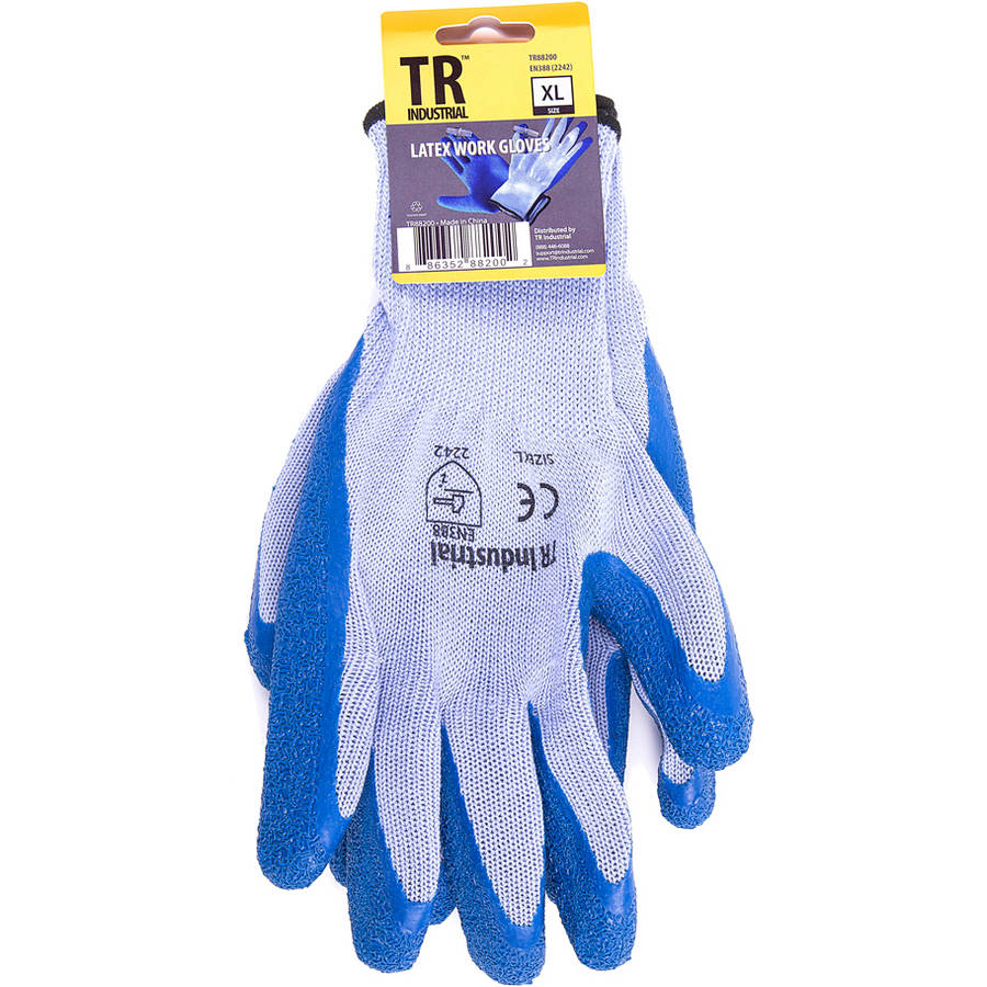 TR Industrial Polyester Base Working Gloves, Latex Coated Smooth Grip, Size XL by TR Industrial