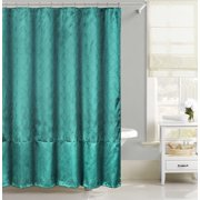 Teal Faux Silk Fabric Shower Curtain: Metallic Silver Raised Pin Dot Fishscale Design