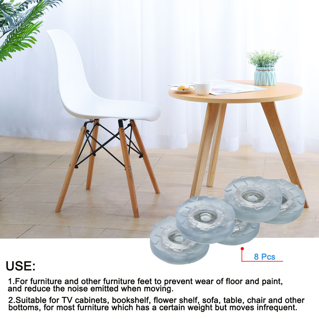 8pcs Round Rubber Feet Insert Metal Washer Floor Furniture Leg Protector 30mm - image 5 of 7