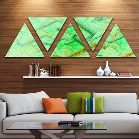 DESIGN ART Designart 'Light Green Electric Lightning' Contemporary Art on Triangle Canvas - 5 Panels (Contemporary Electra 1 Light)