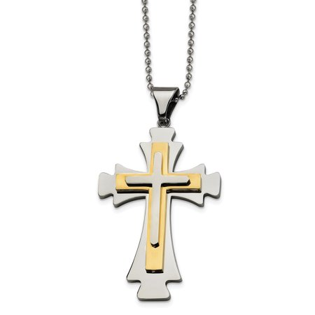 Stainless Steel Gold Plated Cross Religious Pendant 22 Inch Chain Necklace Charm Crucifix Gifts For Women For (Plated Crucifix Pendant)