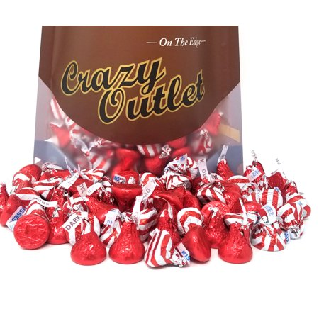 Hershey's Kisses Assortment Candy Dark Chocolate Red and Kisses Milk Chocolate White Red Stripe, Bulk, 3Lbs ()