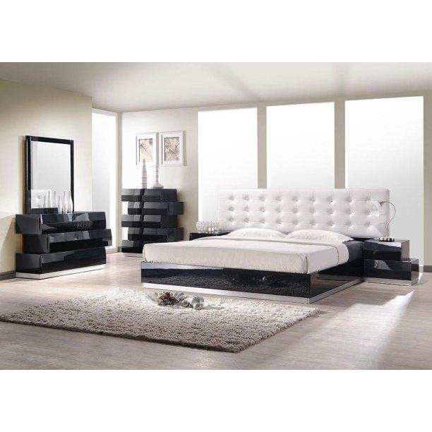 Black Lacquer High Gloss Platform King Bedroom Set 3pcs J M Milan Contemporary Walmart Com Walmart Com
