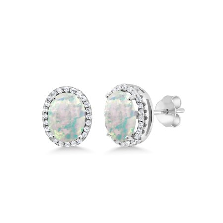 1.68 Ct Oval Cabochon White Simulated Opal 925 Sterling Silver Earrings