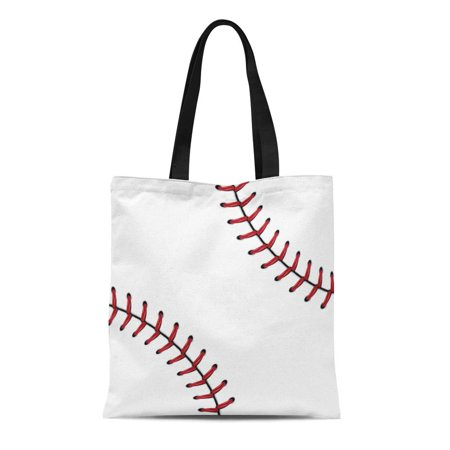 ASHLEIGH Canvas Tote Bag Laces Softball Baseball Red Lace Over Ball Base Clipart Durable Reusable Shopping Shoulder Grocery Bag