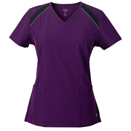 MG SuperFlex Athletic Inspired Colorblock Stretch Scrub Top with Reflective Piping Detail ()