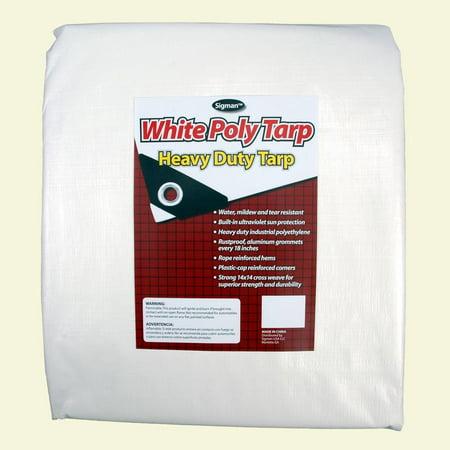 Sigman 6' x 8' White Heavy Duty - White Vinyl Tarp