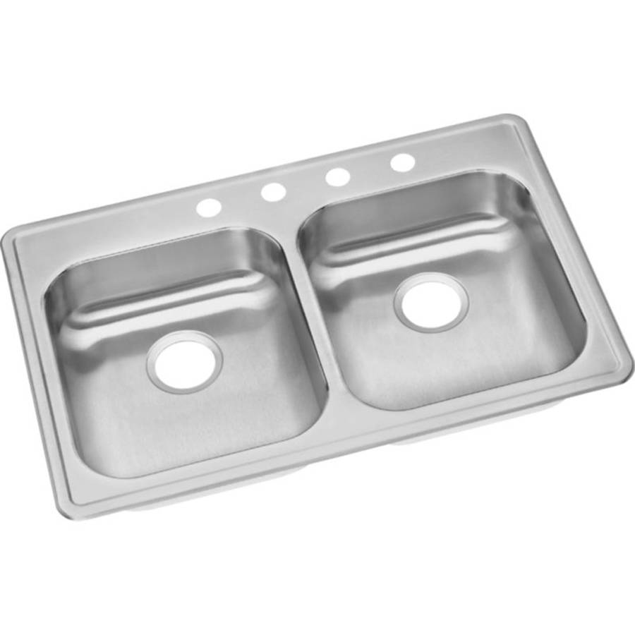 Beau Elkay GE23322MR2 Dayton Stainless Steel Double Bowl Top Mount Sink With MR2  Faucet Holes, Satin