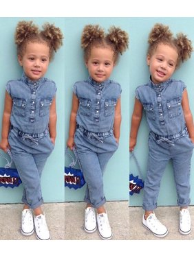 5d4a1f44ae86 Product Image NEW Toddler Kids Baby Girls Denim Shirt Romper Playsuit Pants  Outfits Clothes