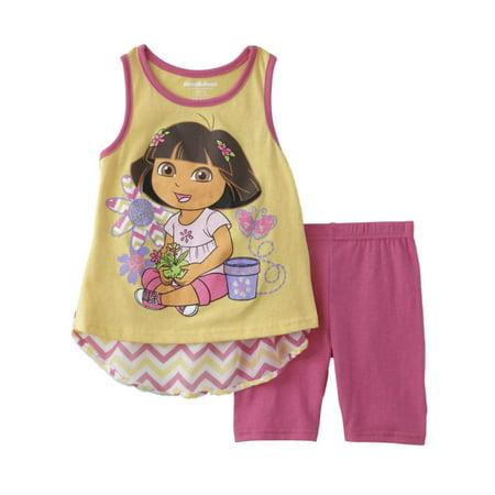 Nickelodeon Toddler Baby Girls Dora Outfit Yellow Pink Tank Top & Legging](Punk Outfit Girl)