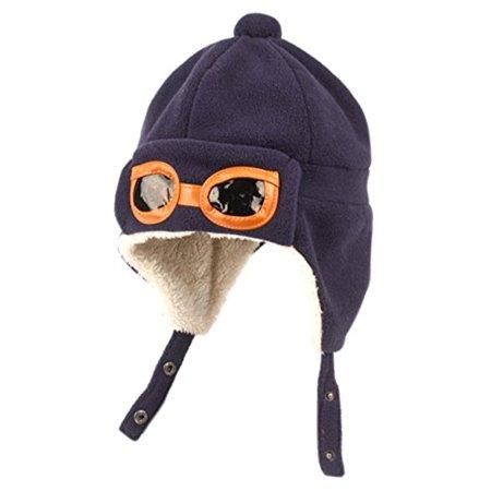 Peach Couture Kids Fleece Trooper Aviator Mohawk Hats Beanie Navy - Kids Aviators