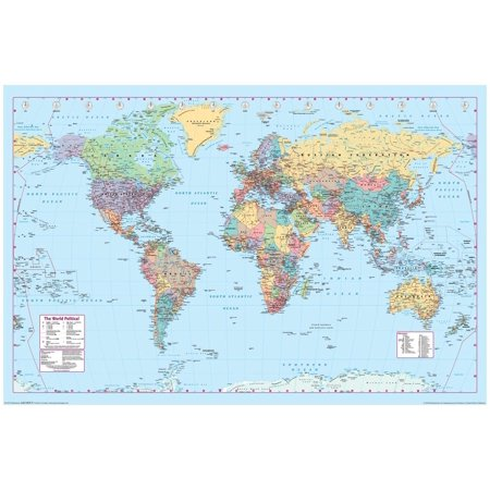 World Map Reference Chart Poster 36X24 Inch