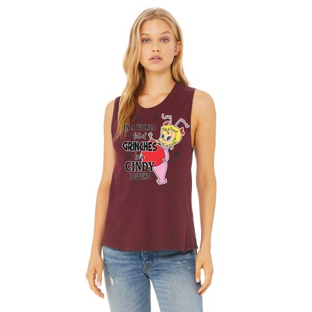 World Of Grinches Be A Cindy Lou Who Womens Graphic Tees Muscle Tank