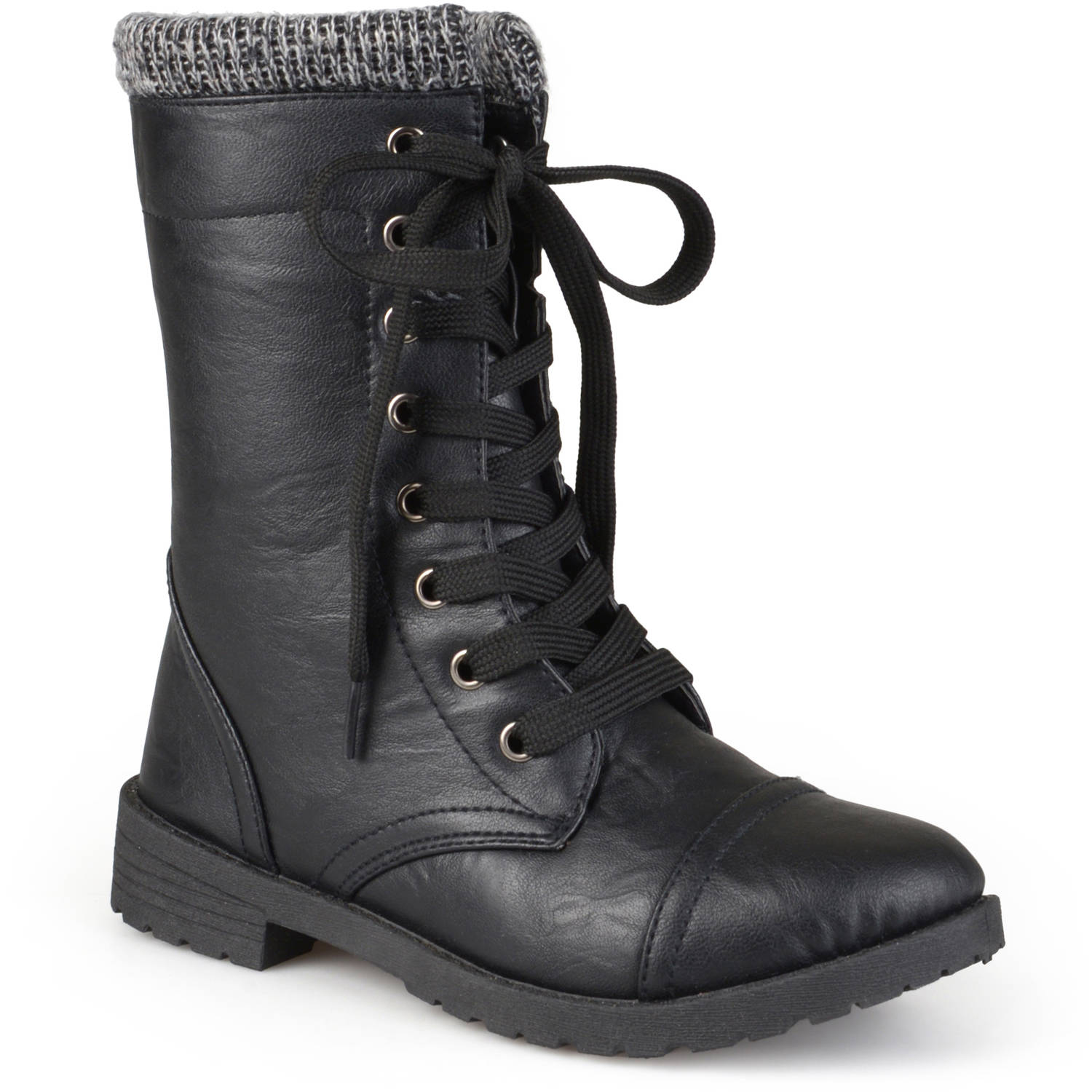 Brinley Kids' Toddler Little Kids Lace-Up Ribbed Combat Boots ...