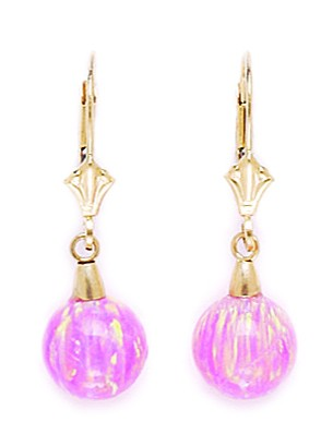 14k Yellow Gold Pink 8x8mm Simulated Opal Ball Drop Leverback Earrings Measures 28x8mm by