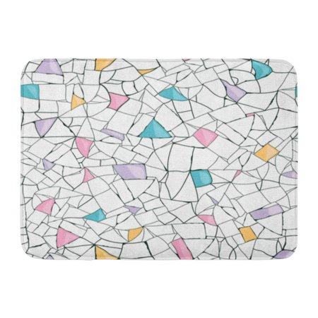 24 Inch Marble Mosaic - GODPOK Blue Grout Yellow Marble Colorful Mosaic Black Geometric Pink Floor Rug Doormat Bath Mat 23.6x15.7 inch
