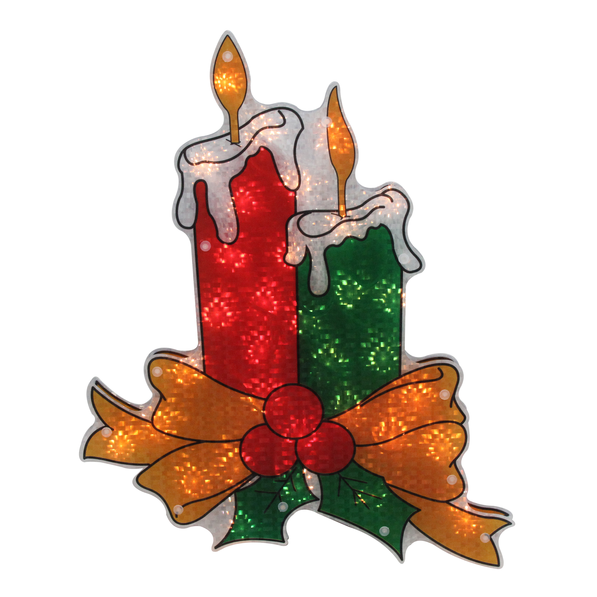 "17"" Lighted Holographic Candle Christmas Window Silhouette Decoration"