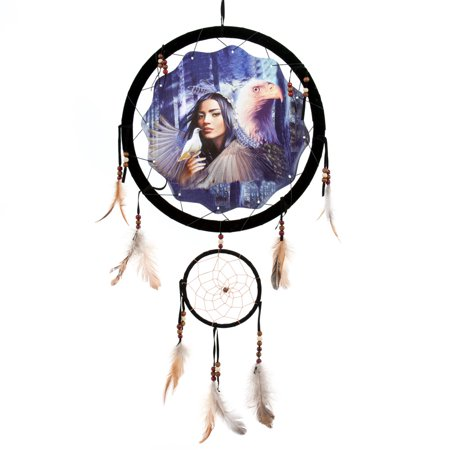 13inch Dream Catcher Indian Maiden with Eagle - Reproduction