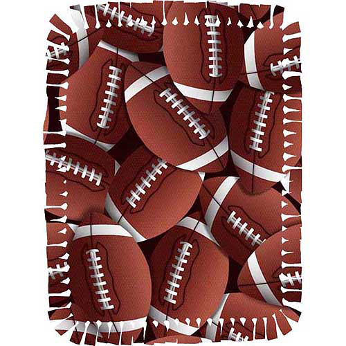 Creative Cuts Microfiber No Sew Throw Kit, Footballs, Brown