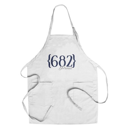 Fort Worth, Texas - 682 Area Code (Blue) - Lantern Press Artwork (Cotton/Polyester Chef's (Fort Worth Tx Zip Code And Area Code)