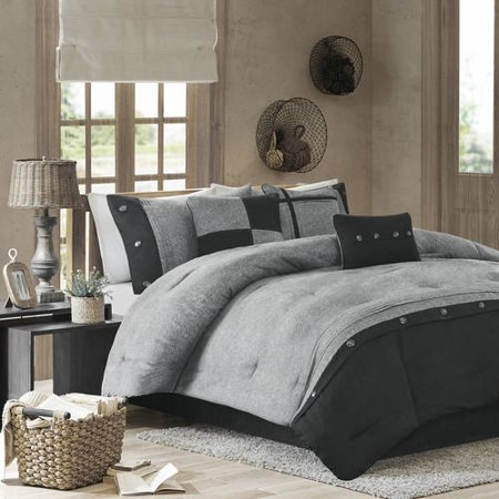 Home Essence Powell 7 Piece Printed Faux Suede Comforter Bedding Set