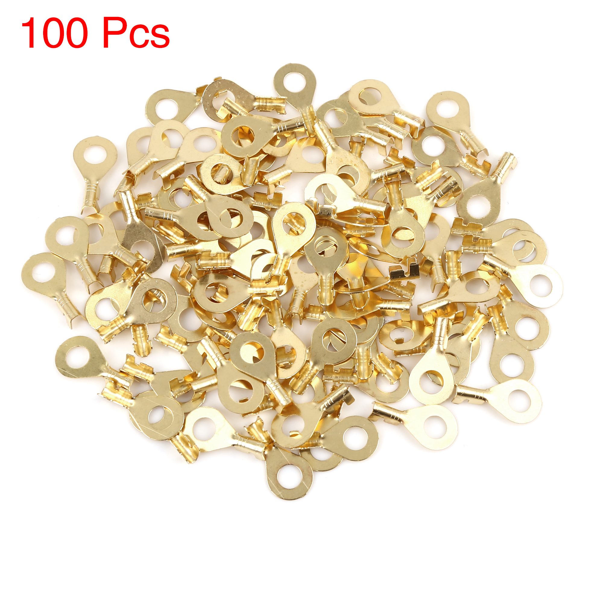 100pcs M6.2 Electric Wire Crimp Ring Lug Terminal Brass Connector 23.5 x 12mm