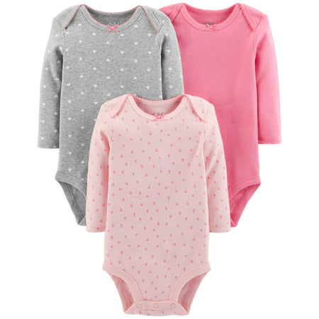 Rosebud Onesie (Child Of Mine By Carter's Basic Long Sleeve Bodysuits, 3-pack (Baby Girls) )