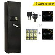 Ktaxon Upgrated Electronic 5 Rifle Gun Safe Large Firearms Shotgun Storage Cabinet with Small Lock Box