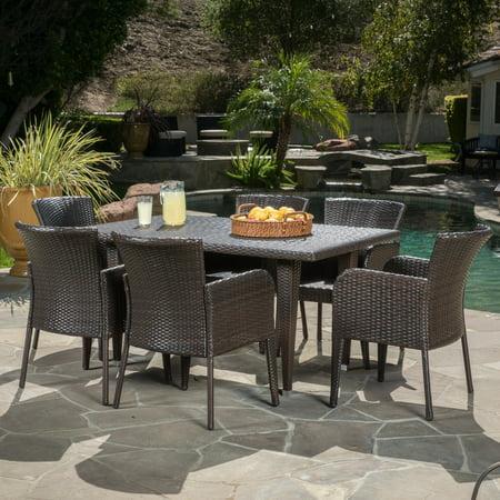 Bond 7 Piece Outdoor Wicker Dining Set, Multibrown ()