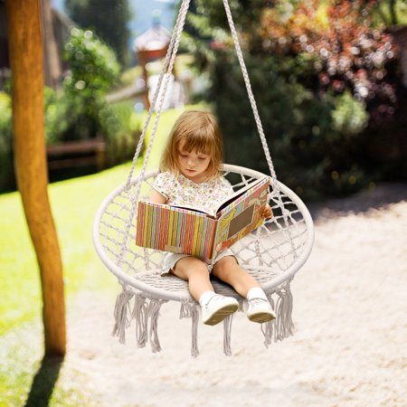 Knitted Macrame Swing Hammock Chair Hanging Cotton Rope Indoor Outdoor Home Patio Porch Deck Yard Garden