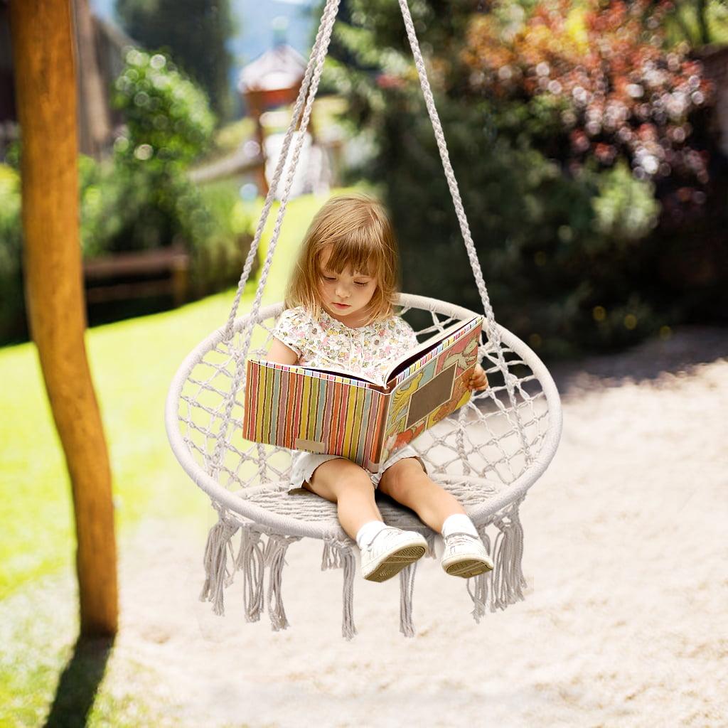 Knitted Macrame Swing Hammock Chair, Hanging Cotton Rope Macrame Hammock Swing Chair Indoor, Outdoor Home, Patio, Porch, Deck, Yard, Garden