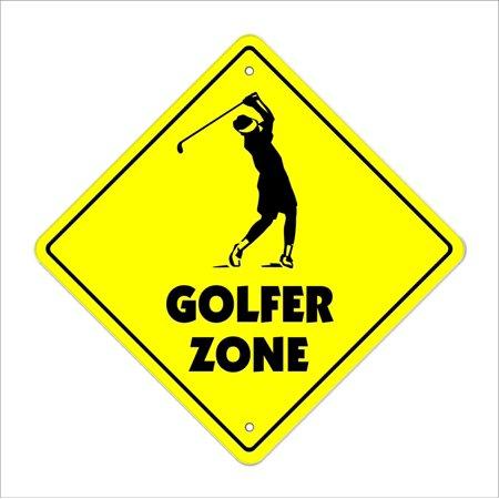 Golf Sign (Golfer Crossing Sign Zone Xing   Indoor/Outdoor   14
