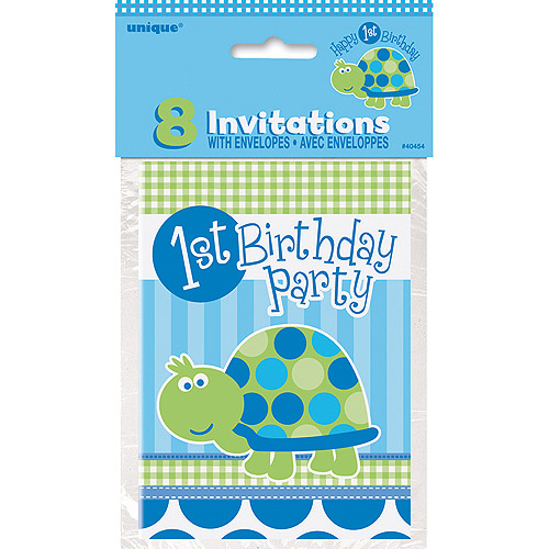 First Birthday Turtle Invitations, 8pk