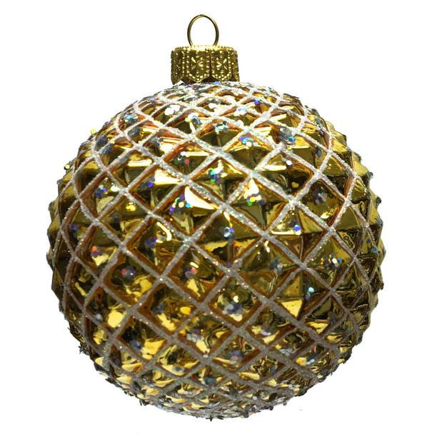 Gold And Silver Textured Ball Polish Glass Christmas Tree Ornament Decoration Walmart Com Walmart Com