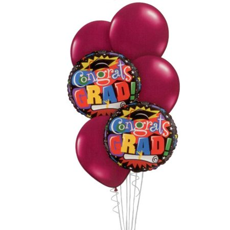 Graduation Balloon Bouquet - Burgundy Congratulations Grad Bouquet - 6 Balloons (Congratulations Balloons)