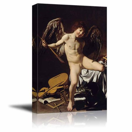 wall26 Cupid as Victor by Caravaggio - Canvas Print Wall Art Famous Painting Reproduction - 16