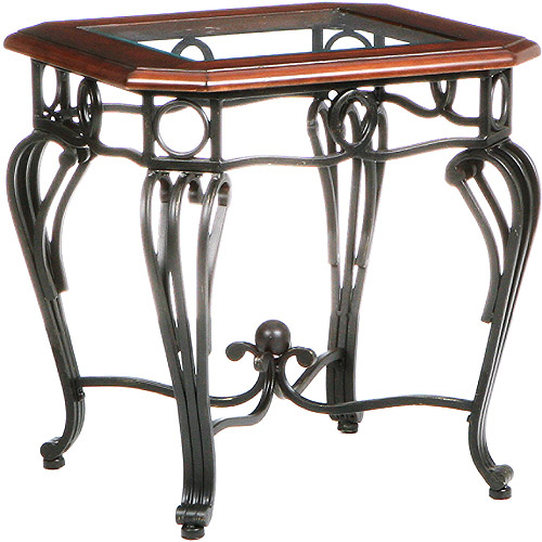 Aberdeen End Table, Dark Cherry, Metal & Glass