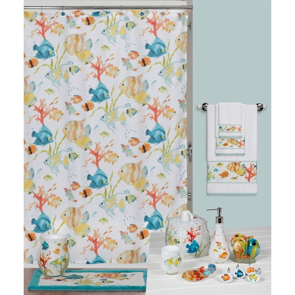 New in Box Creative Bath 12 Tropical fish shower curtain hooks Multi-color