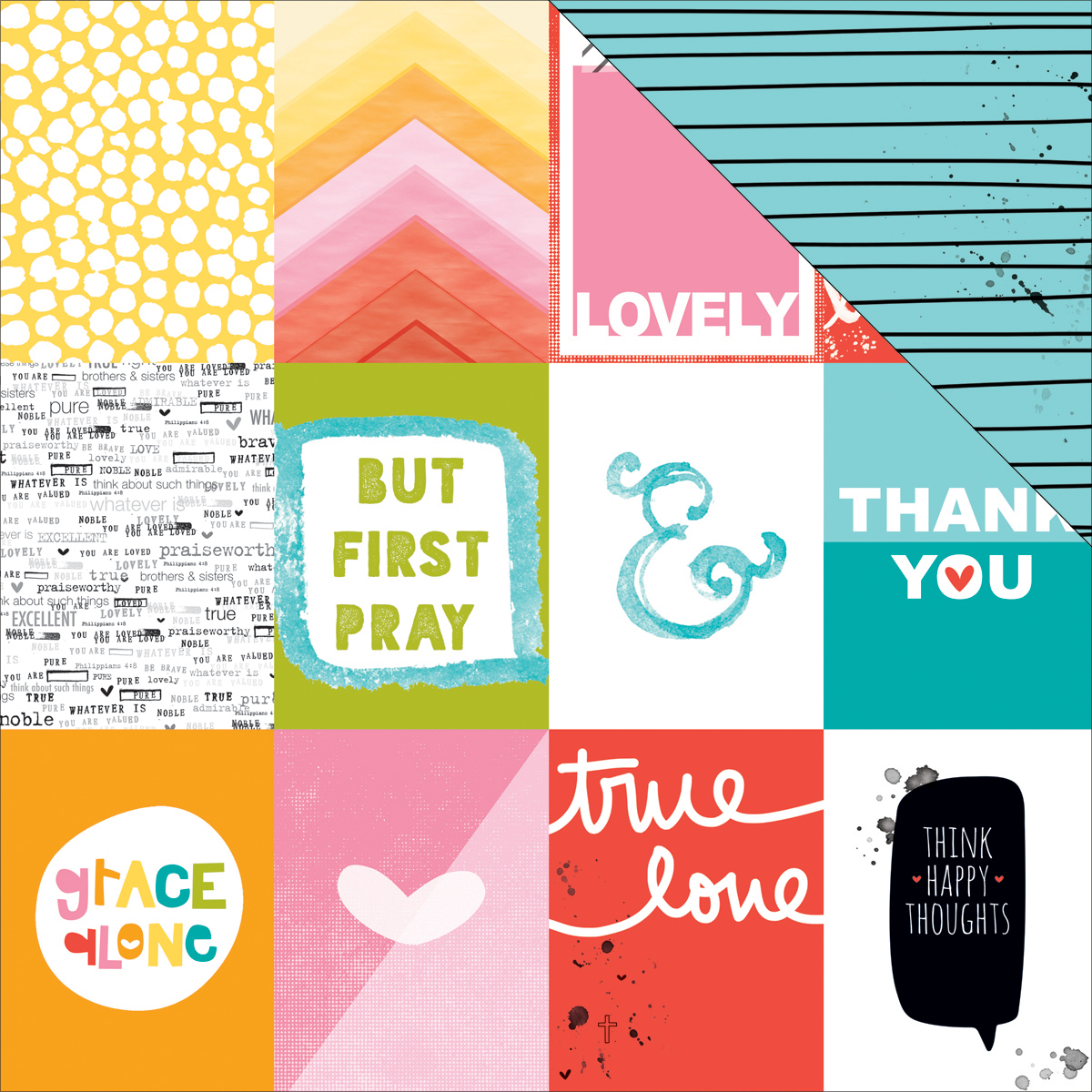 "Illustrated Faith Whatever Is Lovely Cardstock 12""X12""-3X4's"