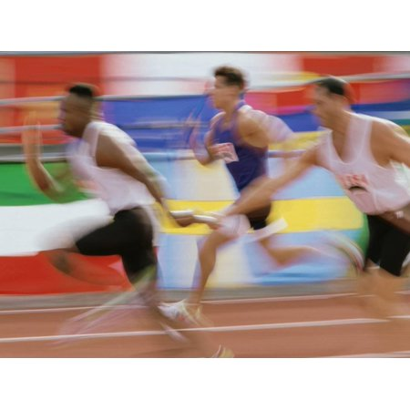 Side Profile of Runners Exchanging Baton at a Relay Race Print Wall Art - Halloween Themed Relay Races