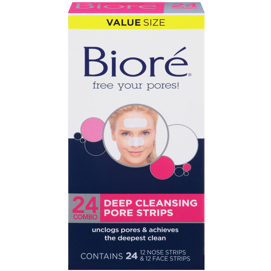 Biore Deep Cleansing Nose/Face Combo Pore Strips, 24ct