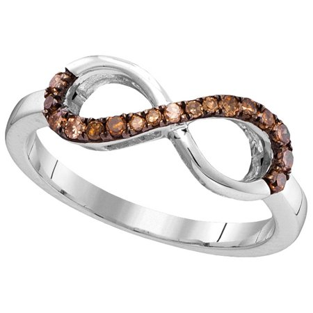 Size - 7 - Solid 10k White Gold Round Chocolate Brown Diamond Prong Set Curved Infinity Wedding Band OR Fashion Ring (1/5 cttw)