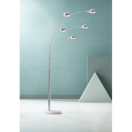 Possini Euro Design Mid Century Modern Arc Floor Lamp Chrome Marble Base For Living Room Office