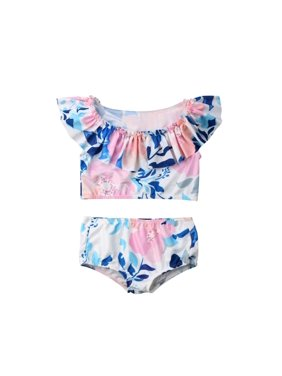 d20595d9a3f Product Image Baby Girls Swimsuit 2pcs Toddler Bikini Ruffle Floral Crop  Top Highwaist Bottom Bathing Suit Beach Coverup. Emmababy