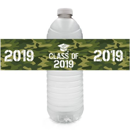 2019 Graduation Water Bottle Labels 24ct - Class of 2019 Army Green Camo Graduation Decoration Supplies - 24 Count Stickers - Graduation Water Bottle Labels
