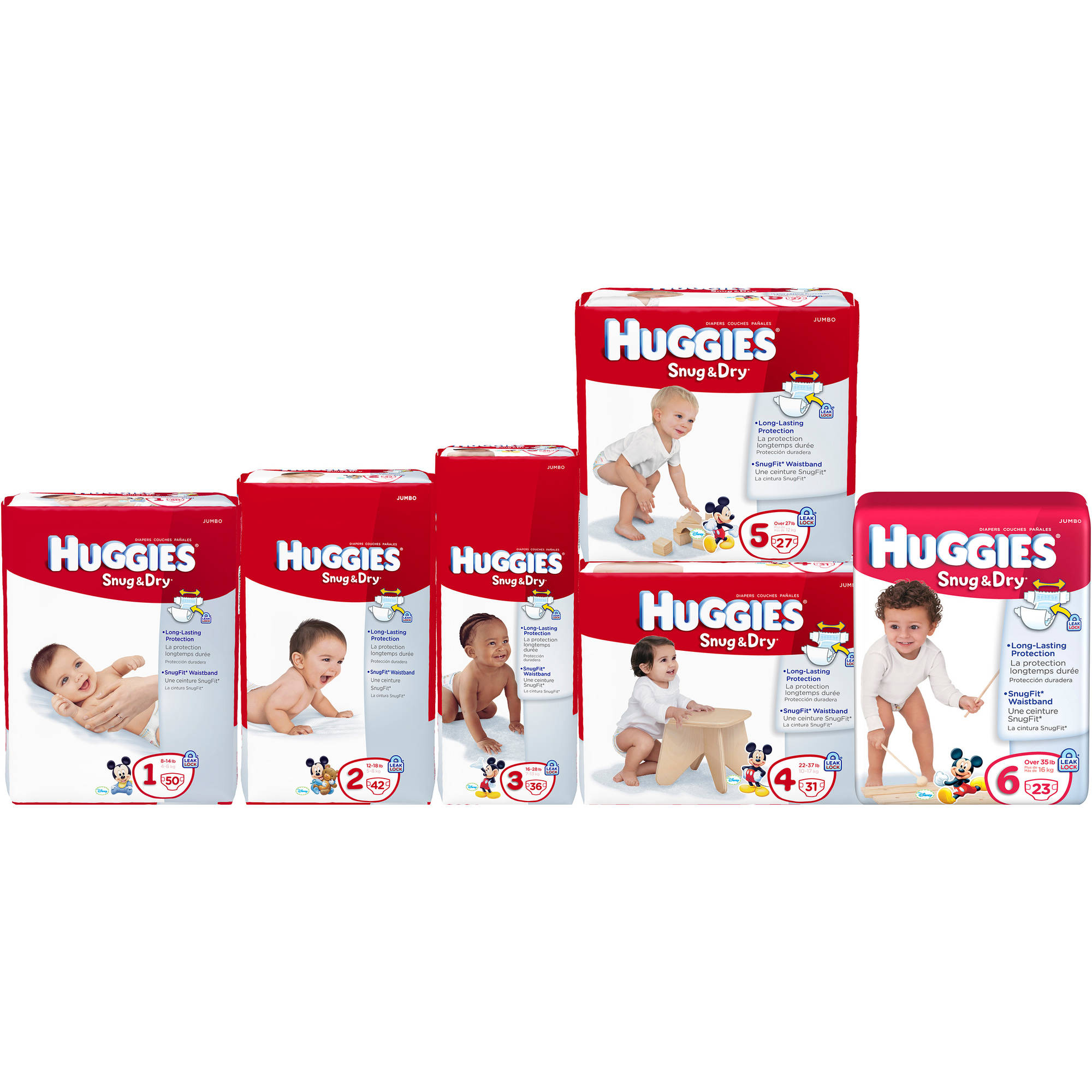 HUGGIES Snug & Dry Diapers Jumbo, (Choose Your Size)