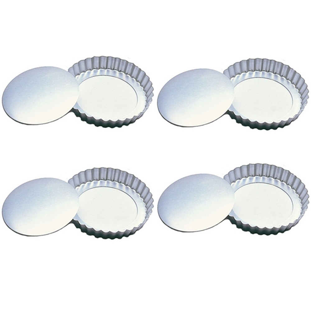 "Fox Run 4"" Tartlet Quiche Pan Set W/ Removable Bottom Set Of 4 Pastry New 4590"